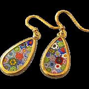 SALE Gold Vermeil Millefiore Glass Drop Earrings, Italian Vintage Art Glass!