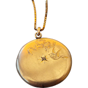 SALE PENDING Elgin American Gold Shell Antique Locket 1870s Holds Two Larger Photos!