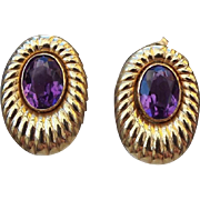 SALE 14k Yellow Gold and Amethyst Gemstone Pierced Earrings, Gorgeous!