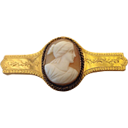 SALE Dated 14k Gold Victorian Cameo Brooch, Elegant Antique Treasure Dated 1884!