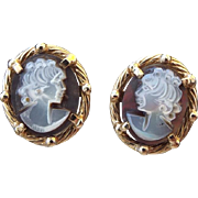 SALE 14k Yellow Gold Solid Frame 1980s Hardstone Cameo Pierced Earrings!