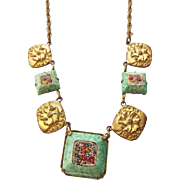 SALE Antique Edwardian Micro Mosaic Station Necklace 1910s Peking Glass Frames!