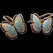 SALE Gold Washed Sterling and Enamel Butterfly Earrings, Elegant Vintage!
