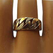 SALE Artist Crafted Sterling 950 Silver and 18k Gold Band Ring, Handcrafted Treasure!