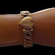 SALE Classic 1940s Expansion Bracelet, Heart Shaped Centerpiece Signed!
