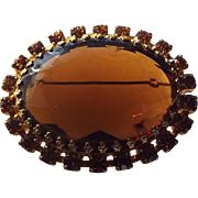 SALE 1960s Large Topaz Centerpiece Rhinestone Brooch, Open Set Excellent Quality Vintage!