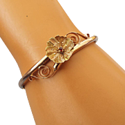 SALE 1880s Antique Victorian Rolled Rose Gold Wedding Bracelet, Hinged with Safety, Rose Cut .