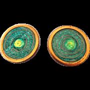 SALE Signed Matisse Copper and Enamel Earrings, 1960s Treasure!