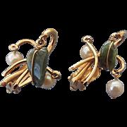 SALE Signed KRAMER Mid Century Pearl and Jade Earrings, 1960s!