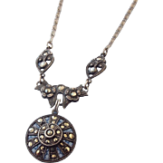 SALE German Sterling Victorian Marcasite Necklace, An Antique Treasure!
