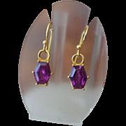 SALE Fancy Gold Vermeil Faux Gemstone Pierced Earrings, Excellent Runway Style!