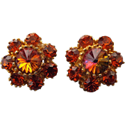 SALE Rivoli Rhinestone Earrings, 1950s Clips, Great Colors!