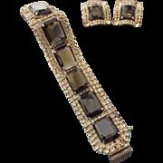 SALE PENDING Mid-Century Black Diamond Faceted Rhinestone Bracelet and Earring Set!