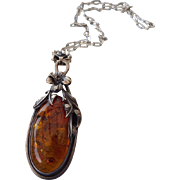REDUCED Native American Crafted Sterling Floral Design Amber Pendant Necklace, Very Fine Vinta