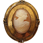 SALE 1940s Real Cameo Brooch, Victorian Revival Designed Setting!