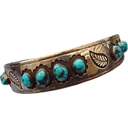 REDUCED Navajo Hand Crafted Sterling Choker Necklace with Natural Turquoise Gemstones!