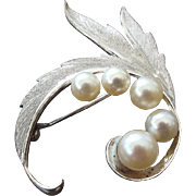 SALE Signed Mikimoto Sterling Silver Pearl Pin, Genuine Japanese Saltwater Pearl Brooch!