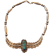 REDUCED Sterling Navajo Bench Bead Feather Necklace With Turquoise Centerpiece!