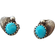 SALE Vintage Petite Post Earrings, Native American Crafted Sterling and Turquoise!
