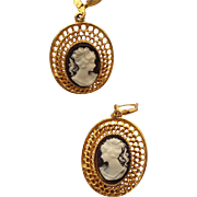 SALE Golden Mesh Style Vintage Faux Cameo Earrings, Lever Findings!