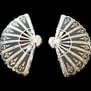 SALE Signed SIAM Sterling Silver Fan Figural Earrings, Elegant Vintage!