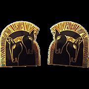 """SALE Laurel Burch """"Embracing Horses"""" Vintage Enamel Face Pierced Earrings, 1980s Des"""