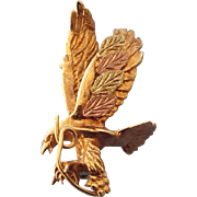 SALE Black Hills Gold 10k Figural Eagle Three Dimensional pin With Grape Vine, Classic Vintage