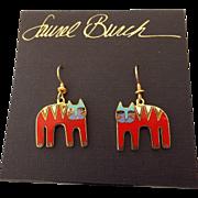 "SALE Laurel Burch ""Tiger"" Enamel Earrings on the Original Card!"