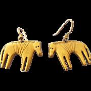SALE Laurel Burch Golden Aztec Horses Figural Earrings, Vintage Treasure!