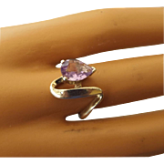 SALE Sterling and Amethyst Teardrop Gemstone Ring, Beautiful Vintage, Size 8!