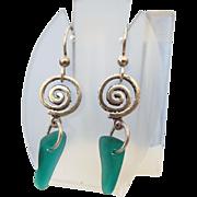 SALE Sterling Sea Glass Earrings, Beautiful Vintage!