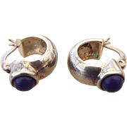 SALE Sterling Silver and Lapis Lazuli Gemstone Vintage Huggie Earrings!