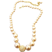 """SALE Graduated Faux Pearl Necklace Signed """"Joan Rivers"""" Classic Vintage High Fashion"""