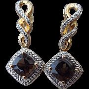 SALE Gold Vermeil Smoky Quartz Gemstone Pierced Earrings, Elegant Vintage!