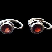 SALE Sweet Sterling Silver and Garnet Gemstone Fancy Leverback Pierced Earrings!