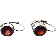 SALE Sweet Sterling Silver and Garnet Gemstone Fancy Leverback Pierced Earrings!