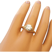 SALE 18k Yellow Gold Retro Filigree Mounted Two Carat Moissanite Gemstone Ring, Exquisite!