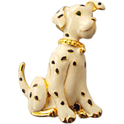 SALE Delightful Vintage Enamel Dalmatian Dog Brooch Excellent Condition!