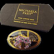 SALE Michaela Frey Handmade Art Deco Style, Enamel Brooch Signed!