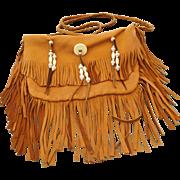 SALE Pow Pow Fringe Native American handmade Soft Leather Handbag!