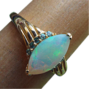 SALE Marquis Cut Natural Opal Gemstone Ring Set in 10k Yellow Gold mounting, Size 10!