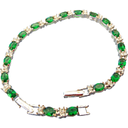 SALE Bright Green Rhinestone Bracelet with Extender Signed Avon!