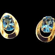 SALE Petite 14k Yellow Gold and London Blue Topaz Pierced Earrings!