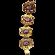 SALE Antique Czech Filigree Wide Bracelet Amethyst Glass Stones Made In Czechoslovakia!