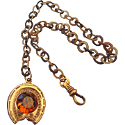 SALE Antique Victorian Rolled Gold Fancy Watch Chain Topaz Glass Stone Good Luck Horseshoe!