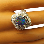SALE Diamond Accented Australian Opal Gemstone Ring Ornate Sterling Setting!