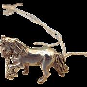 SALE Sterling Silver Horse Pendant Necklace Three Dimensional Design Fine Details Artist Craft