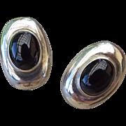 SALE 1940s Vintage Sterling Onyx Pierced Earrings Omega Findings!