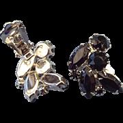 SALE 1940s Designer Signed Weiss Black Rhinestone Earrings Rhodium Finish!