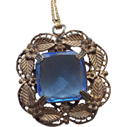 SALE 1920s Transition Era Pendant Early Art Deco Beautiful Sapphire Glass Pendant!